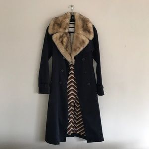 Marc by Marc Jacobs Trench with Faux Fur Collar